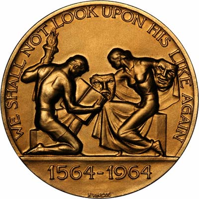Reverse of 1964 William Shakespeare 400th Anniversary Gold Medallion