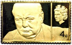 Winston Churchill Four Pence Stamp Replica in Gold