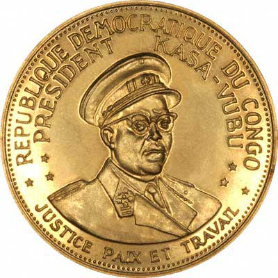 President Kasa Vubu on Obverse of 1965 Congo 100 Francs