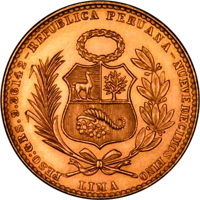Peruvian 20 Soles Gold Coin Chards Tax Free Gold