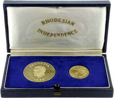1965 Rhodesian Independence Anniversary Gold Medallion in Presentation Box