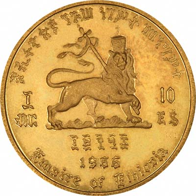 Haile Selassie on Obverse of 1966 Ethiopian Gold 200 Dollars