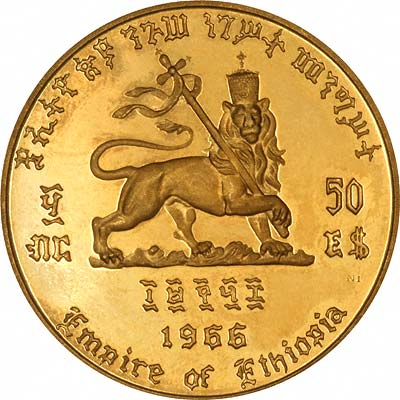 Reverse of 1966 Ethiopian Gold 200 Dollars