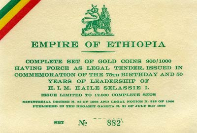 Certificate from 1966 Ethiopian Gold Proof Set