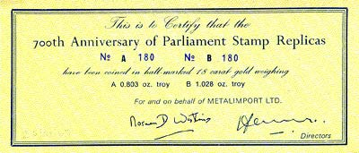 1966 700th Anniversary of Parliament Gold Stamp Replica Certificate