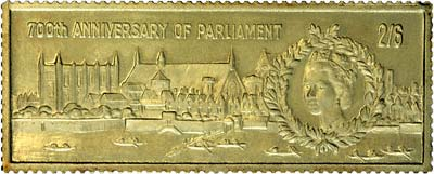 1966 700th Anniversary of Parliament Gold Stamp Replica