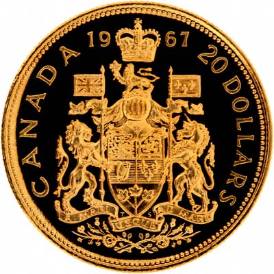 Reverse of 1967 $20 Canadian Gold Proof Coin