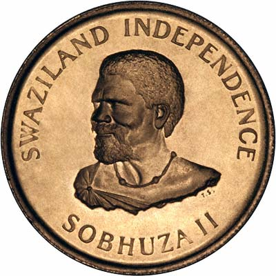 Obverse of 1968 Swaziland One Lilangeni