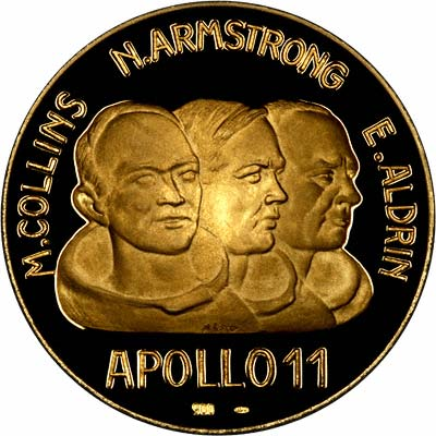 Obverse of 1969 Apollo 11 First Moon Landing by Man Gold Medallion