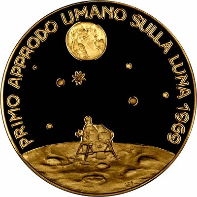 Reverse of 1969 Apollo 11 First Moon Landing by Man Gold Medallion