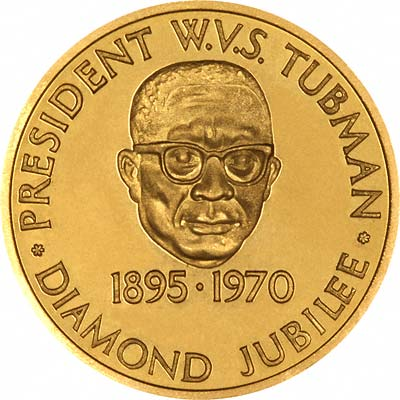 President Tubman on Obverse of 1970 Liberian Gold 25 Dollars