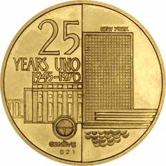 Reverse of 1970 UNO Gold Medallion