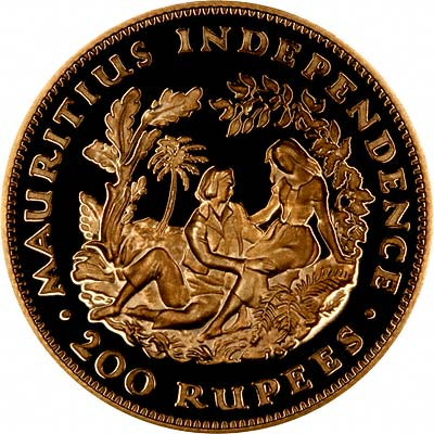 Reverse of 1971 Mauritian Gold Proof 20 Rupees