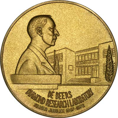 Obverse of De Beers Diamond Research Laboratory 1947 - 1972 Silver Jubilee Gold Medallion