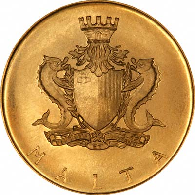 Obverse of  1972 Maltese £20 Gold Coin