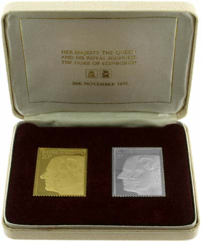 1972 Royal Silver Wedding Twenty Pence Stamp Replica in Gold