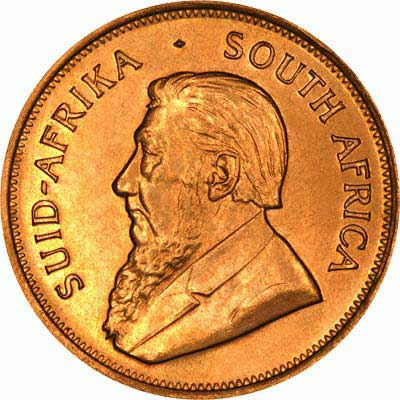 Obverse of 1972 South African 1 Ounce Krugrrand