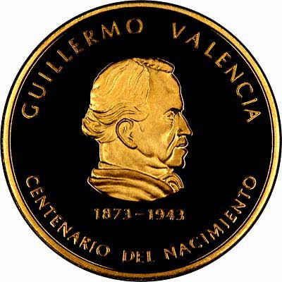 Obverse of 1973 Colombian 1000 Pesos Gold Coin