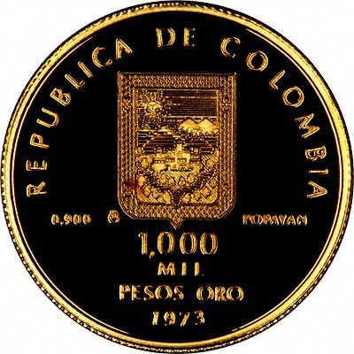 Reverse of 1973 Colombian 1000 Pesos Gold Coin