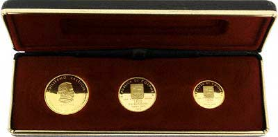 1973 Colombian 3 Gold Pesos Coin Collection In Presentation Box