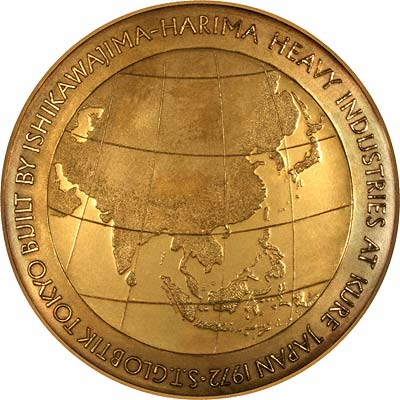 Maiden Voyage Route of Steam Tanker Globtik on Reverse of 1973 Gold Medallion