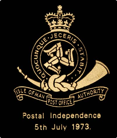 Reverse of 1973 Postal Independence Gold Stamp Replica