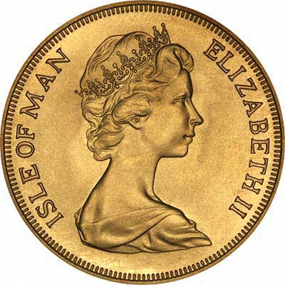 Obverse of 1973 Manx Gold Five Pounds