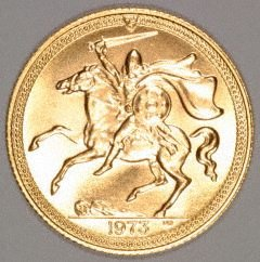 Reverse of 1973 Isle of Man Gold Sovereign