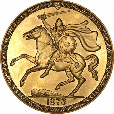 Reverse of 1973 Manx Gold Sovereign