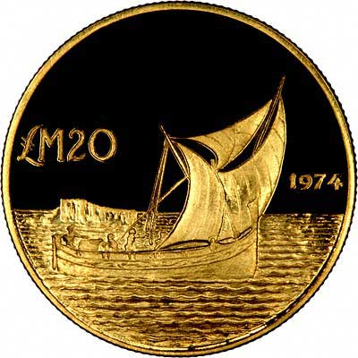 Reverse of  1972 Maltese £20 Gold Coin