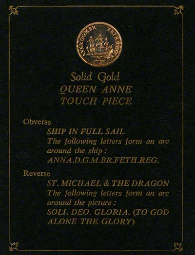 Obverse of Queen Anne Touchpiece Presentation Card