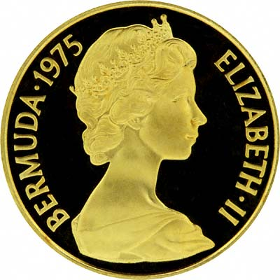 Obverse of 1975 Bermuda $100 Gold Proof