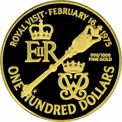Reverse of 1975 Royal Visit $100 Gold Proof Coin