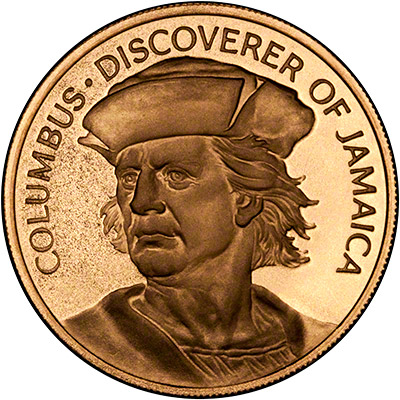1975 Jamaican 100 Dollar Columbus Gold Coin Chards Tax