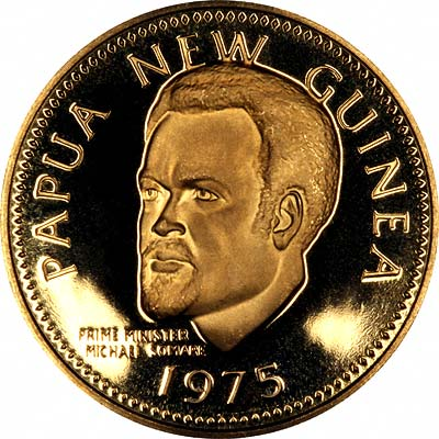 Prime Minister Michael Somare on Obverse of 1975 Papua New Guinea Gold 100 Kina