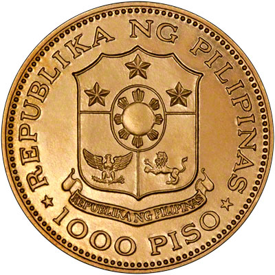 Obverse of 1975 Phillipines 1000 Piso Gold Coin