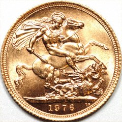 Reverse of Uncirculated 1976 Gold Sovereign