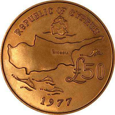 Reverse of 1977 Cyprus Gold £50 Coin
