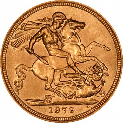 Reverse of Uncirculated 1979 Gold Sovereign