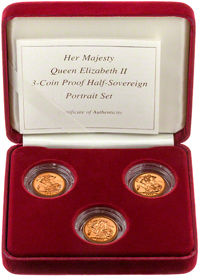 3 - Coin Proof Half-Sovereign Portrait Set in Presentation Box