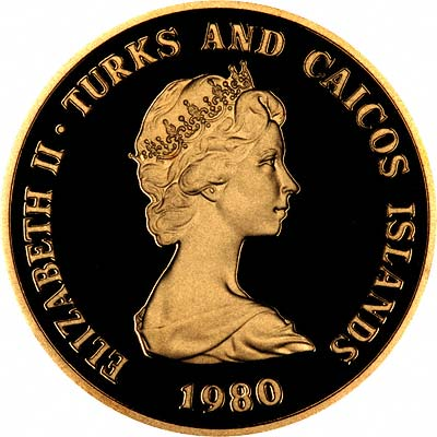 Obverse of 1980 Turks and Caicos 100 Crowns