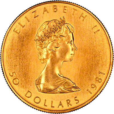 Obverse of 1981 One Ounce Canadian Gold Maple Leaf