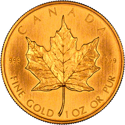 Reverse of 1981 Canadian One Ounce Gold Maple Leaf - 50 Dollars