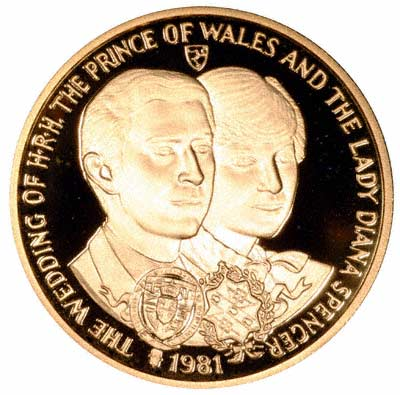 Charles & Diana on 1981 Gold Five Crowns