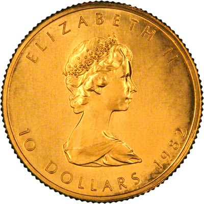 Obverse of 1982 Canadian Quarter Ounce Gold Maple Leaf