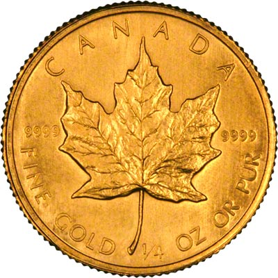 Reverse of 1982 Canadian Quarter Ounce Gold Maple Leaf