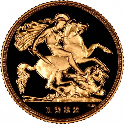 Reverse of 1982 Proof Half Sovereign