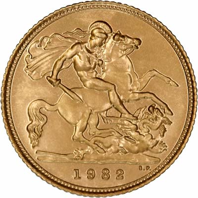 Reverse of 1982 Uncirculated Half Sovereign