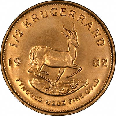 Reverse of 1982 South African Half Ounce Krugerrand