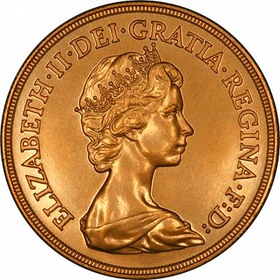 Obverse of 1984 'Brilliant Uncirculated' Five Pounds Gold Coin